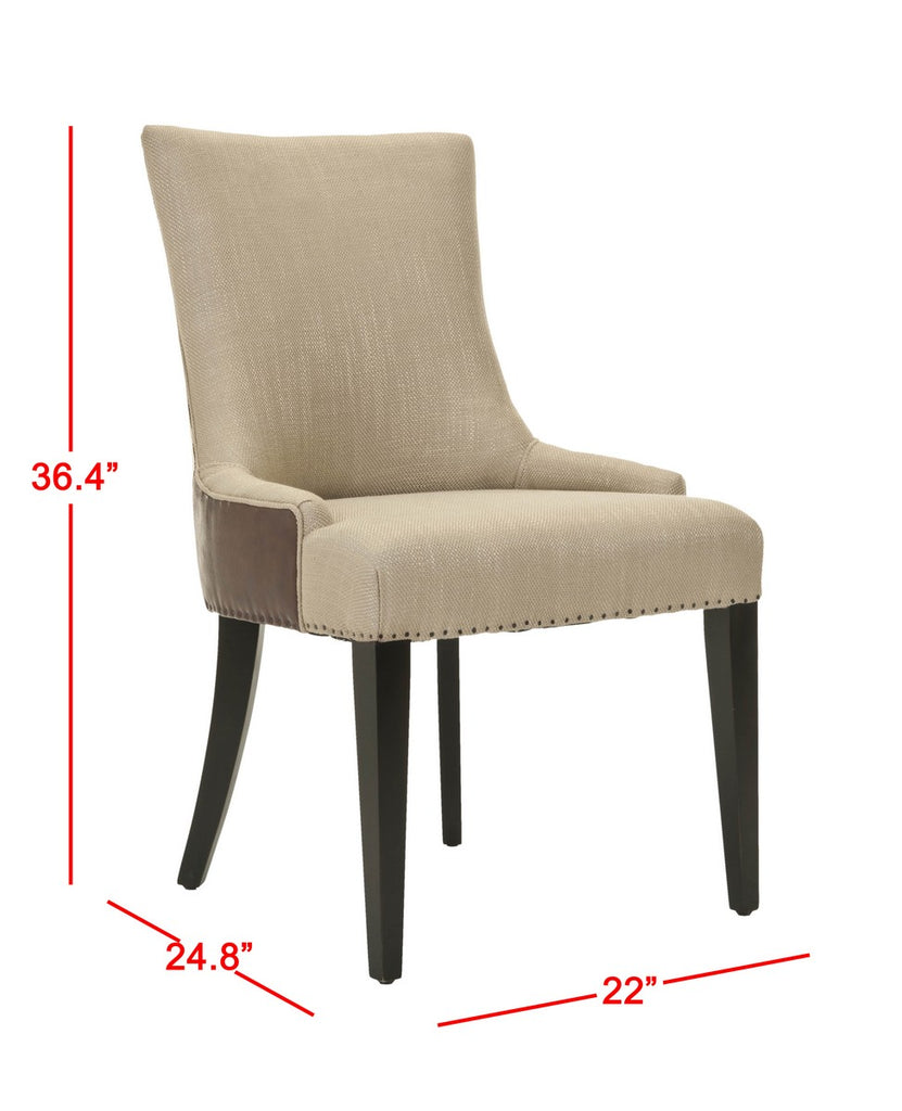 "Safavieh Becca Dining Chair 19""H Fabric and Leather Antique Gold Brown Espresso Wood Birch Poly Steel Viscose Cotton Linen MCR4502F 683726380740"