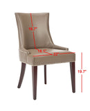 "Safavieh Becca Dining Chair 19""H Leather Clay Cherry Mahogany Wood Water Based Paint Birch CA Foam Polyester FiberSteelBicast MCR4502G 683726786467"