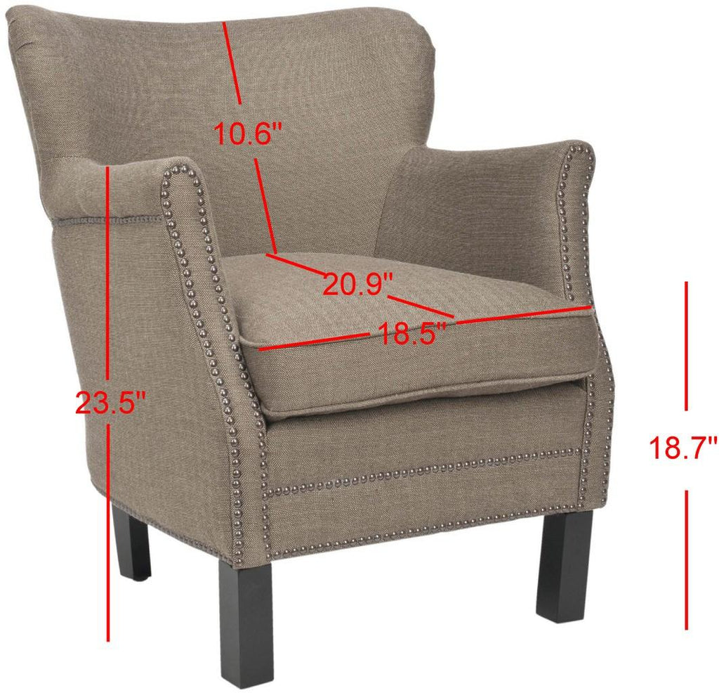 Safavieh Jenny Arm Chair Brass Nail Heads Brown Java Wood Water Based Paint Birch CA Foam Polyester FiberSteelAcryl Wool MCR4543A 683726808671
