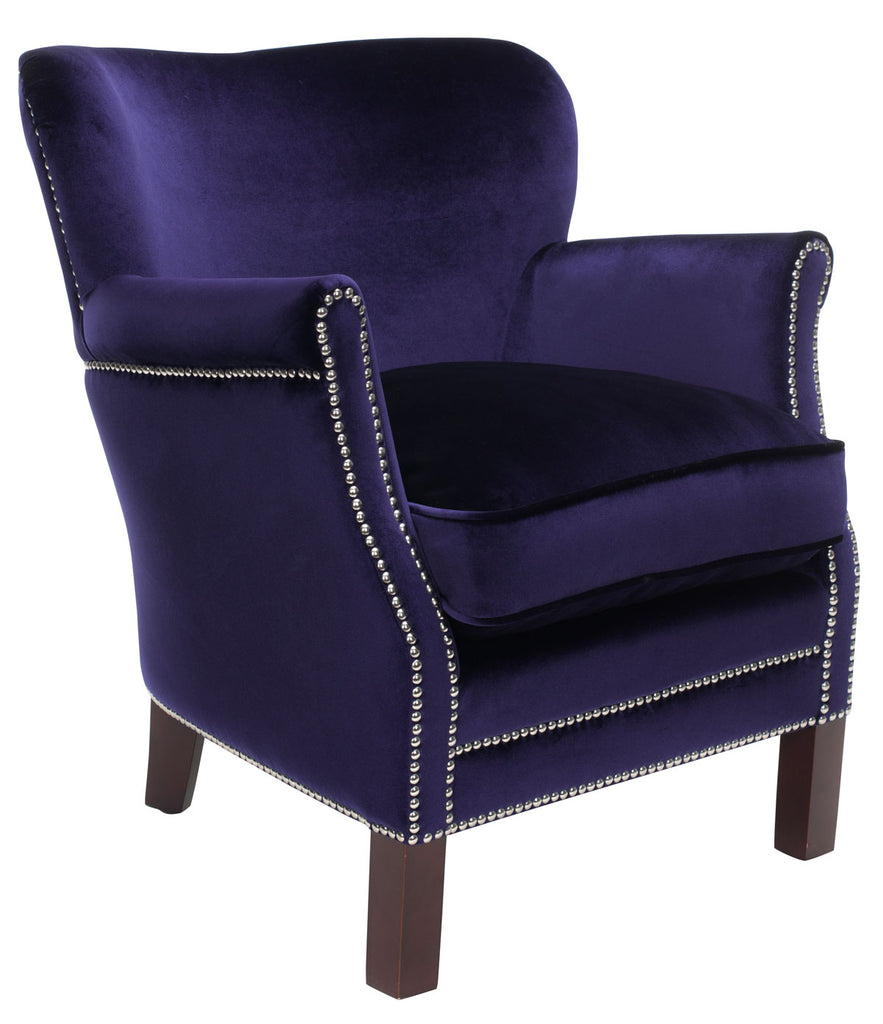 Safavieh Jenny Arm Chair Nail Heads Royal Blue Cherry Mahogany Wood Water Based Paint Birch CA Foam Poly Fiber Steel Velvet MCR4543D 683726391081