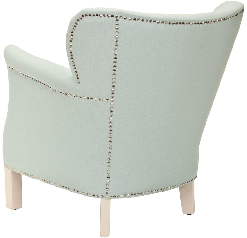 Safavieh Jenny Arm Chair Nail Heads Robins Egg Blue Ivory Wood Water Based Paint Birch CA Foam Polyester FiberSteelLinen Cotton MCR4543E 683726398288