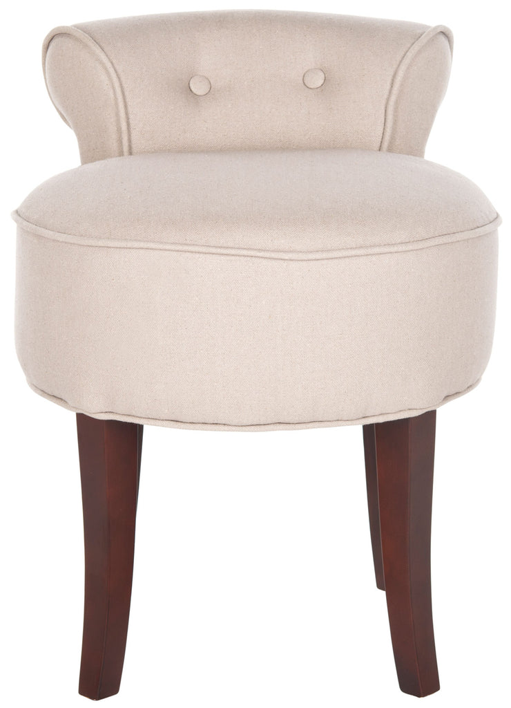 Safavieh Georgia Vanity Stool Taupe Cherry Mahogany Wood Water Based Paint Birch CA Foam Polyester Fiber Linen MCR4546A 683726808701