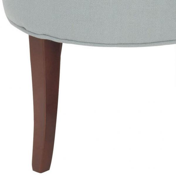 Safavieh Georgia Vanity Stool Silver Blue Cherry Mahogany Wood Water Based Paint Birch CA Foam Polyester Fiber Linen MCR4546B 683726808718