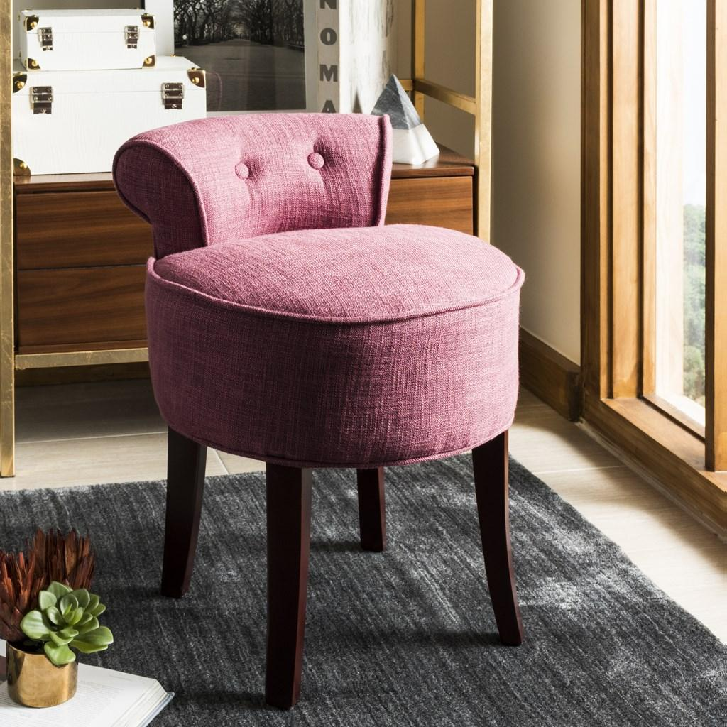 Safavieh Georgia Vanity Stool Rose Cherry Mahogany Wood Water Based Paint Birch CA Foam Polyester Fiber Viscose MCR4546C 683726398295