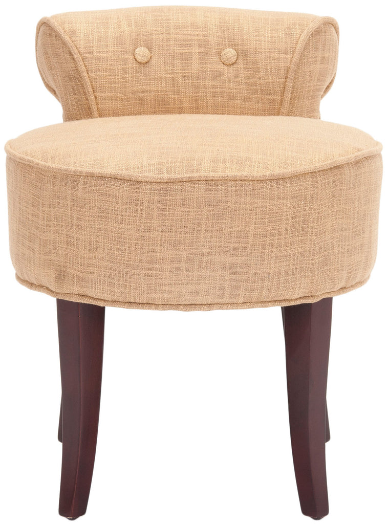 Safavieh Georgia Vanity Stool Gold Cherry Mahogany Wood Water Based Paint Birch CA Foam Polyester Fiber Viscose MCR4546E 683726398318
