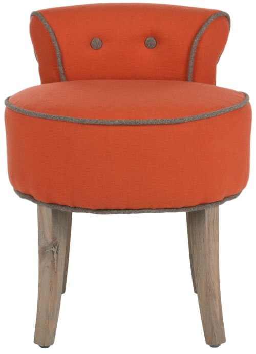 Safavieh Georgia Vanity Stool Burnt Orange Distressed Grey Wood Oil Based Paint Birch CA Foam Polyester Fiber Wool MCR4546F 683726557920