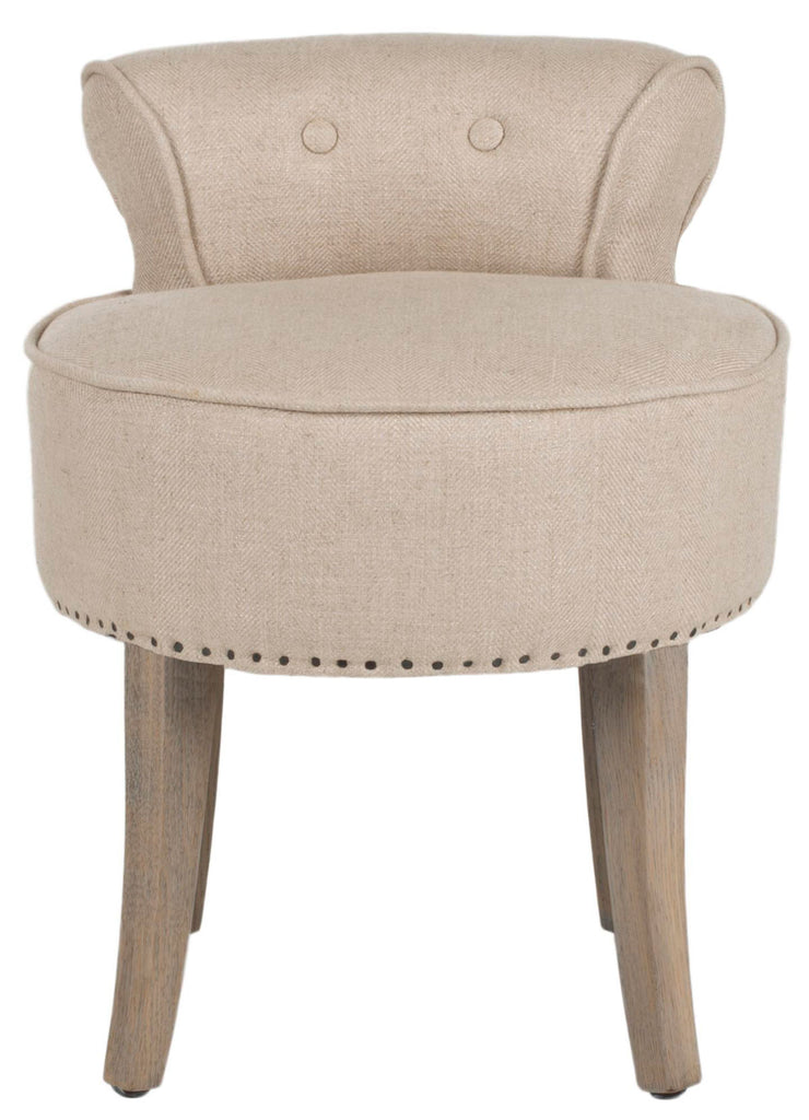 Safavieh Georgia Vanity Stool Pearl Beige Distressed Grey Wood Oil Based Paint Birch CA Foam Polyester FiberSteelViscose Linen MCR4546G 683726557937