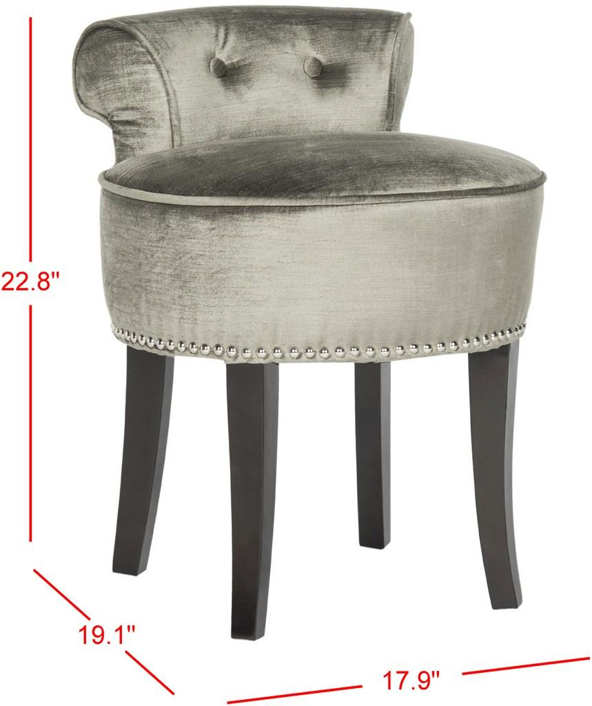Safavieh Georgia Vanity Stool Antique Sage Espresso Wood Water Based Paint Birch CA Foam Polyester FiberSteelViscose Cotton MCR4546H 683726557951