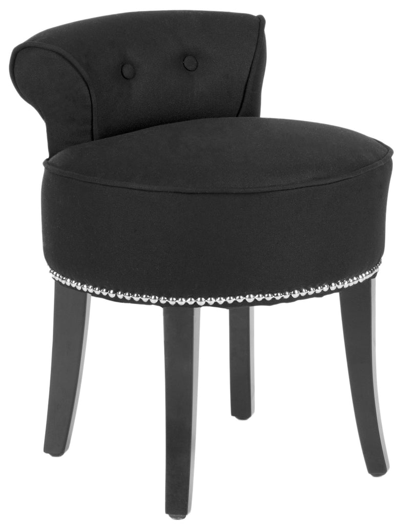 Safavieh Georgia Vanity Stool Black Espresso Wood Water Based Paint Birch CA Foam Polyester Fiber Stainless Steel Linen MCR4546J 683726557968