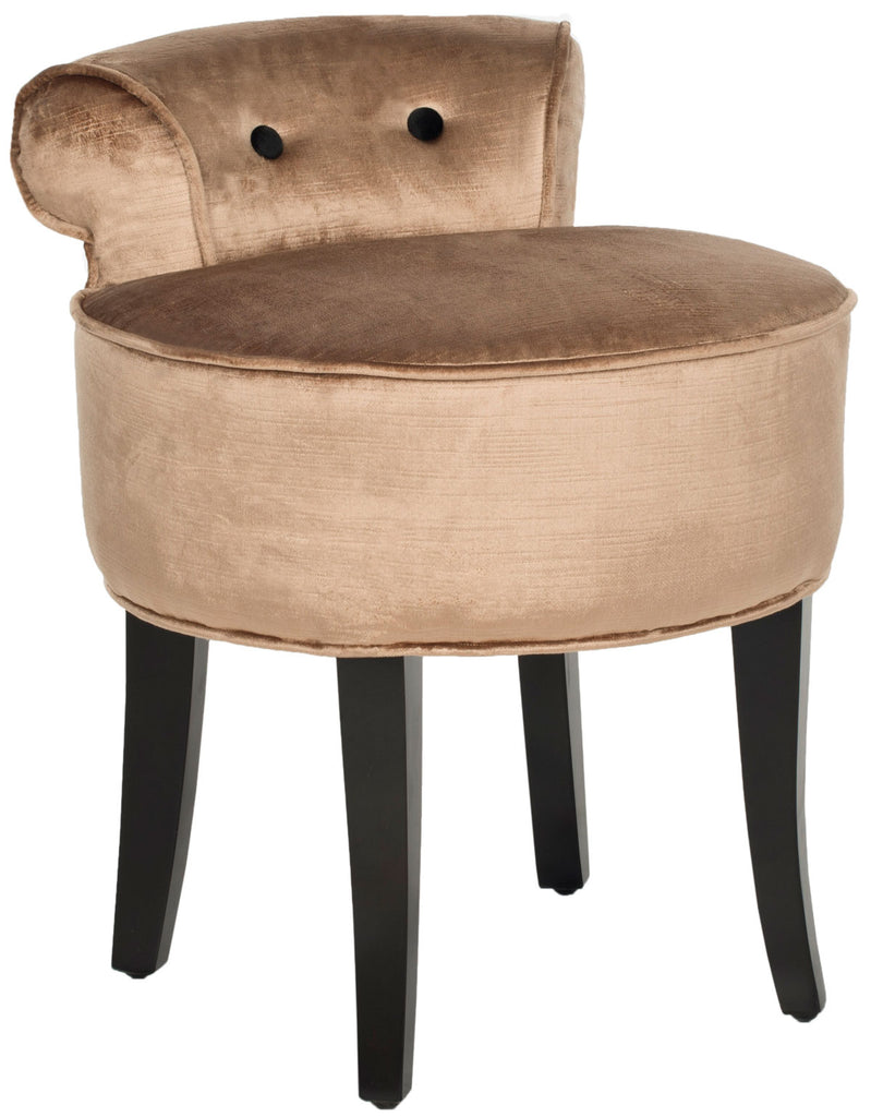 Safavieh Georgia Vanity Stool Mink Brown Espresso Wood Water Based Paint Birch CA Foam Polyester Fiber Cotton Viscose MCR4546Q 683726751656