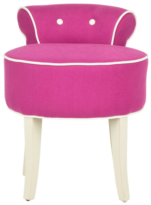 Safavieh Georgia Vanity Stool Fuchsia Cream Ivory Wood Water Based Paint Birch CA Foam Polyester Fiber Cotton MCR4546R 683726751670