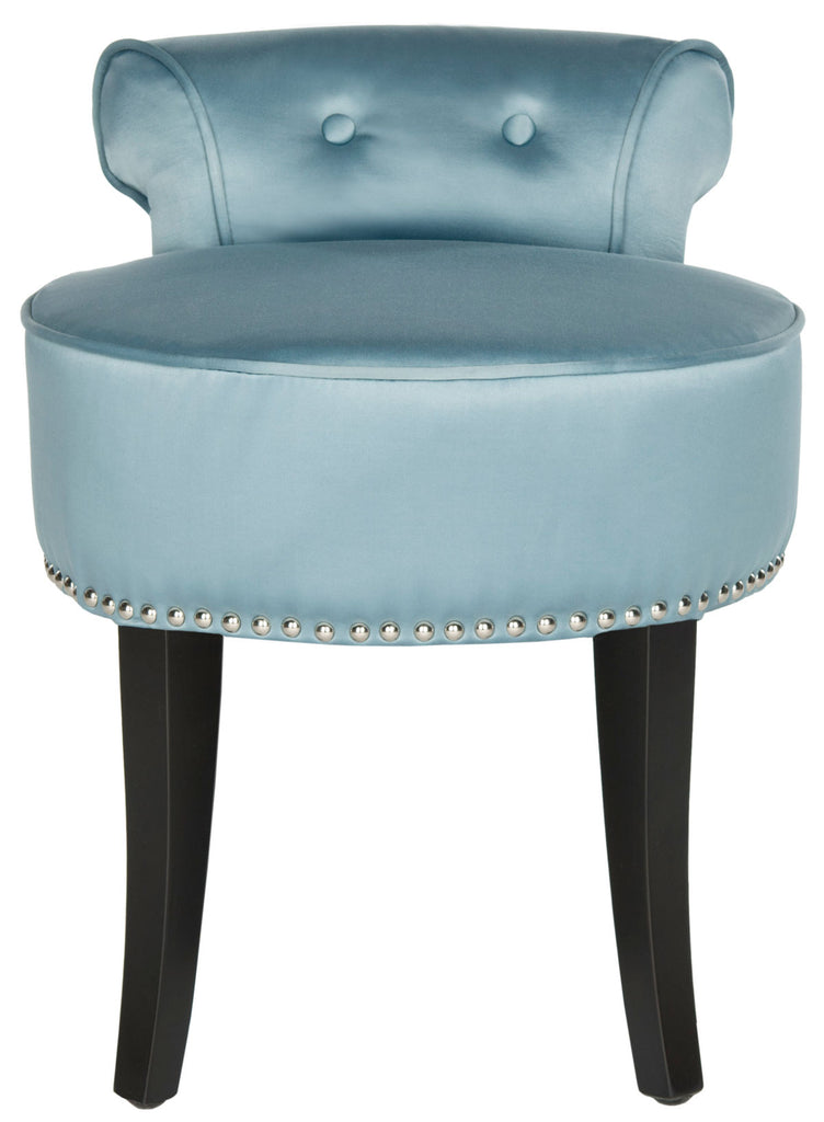 Safavieh Georgia Vanity Stool Teal Espresso Wood Water Based Paint Birch CA Foam Polyester Fiber Stainless Steel Cotton MCR4546S 683726133230