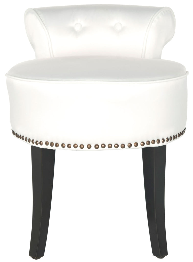 Safavieh Georgia Vanity Stool White Espress Wood Water Based Paint Birch CA Foam Polyester Fiber Stainless Steel Cotton MCR4546T 683726133247