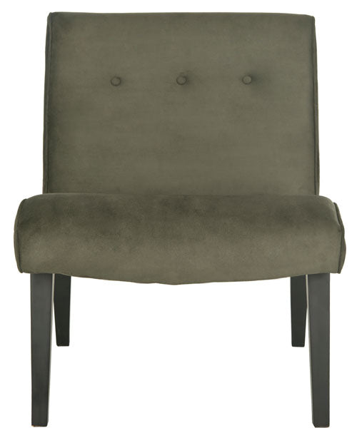 Safavieh Mandell Chair Buttons Forest Green Java Wood Water Based Paint Birch CA Foam Polyester Fiber Linen Cotton Synthetic MCR4552D 683726453499