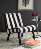 Safavieh Mandell Chair Buttons Black White Wood Water Based Paint CA Foam Polyester Fiber Linen MCR4552F 889048087736