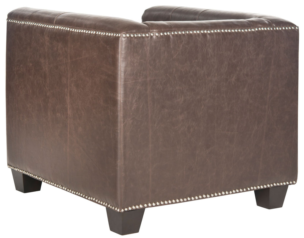 Safavieh Bentley Club Chair Silver Nail Heads Antique Brown Espresso Wood Water Based Paint Birch CA Foam Polyester FiberSteelPU MCR4574D 683726133568