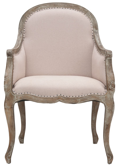 Safavieh Esther Arm Chair Flat Black Nail Heads Taupe Pickled Oak Wood Oil Based Paint CA Foam Polyester FiberSteelLinen MCR4575A 683726381044