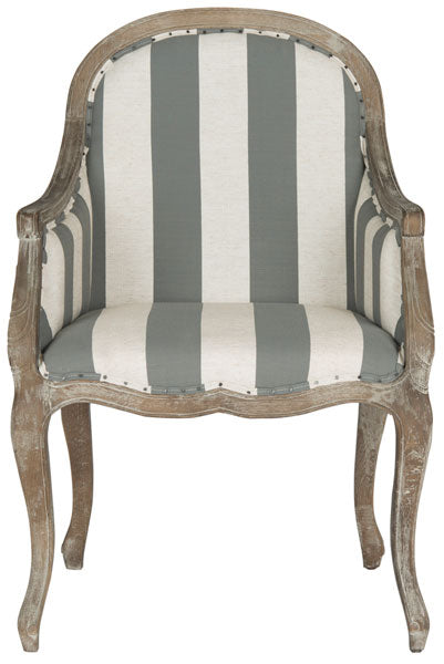 Safavieh Esther Arm Chair Awning Stripes Flat Black Nail Heads Grey Off White Pickled Oak Wood Oil Based Paint Poly Steel Linen MCR4575B 683726133582