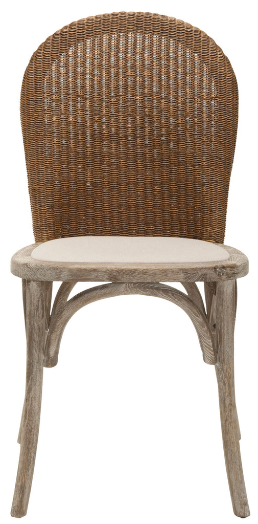 Safavieh - Set of 2 - Kioni Side Chair 19''H Rattan Taupe Pickled Oak Wood Oil Based Paint Linen MCR4599A-SET2 683726535867