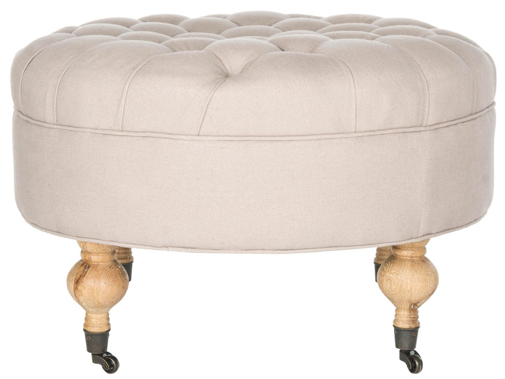 Safavieh Clara Ottoman Tufted Round Taupe Pickled Oak Wood Oil Based Birch CA Foam Poly Fiber Linen MCR4601A 683726426585