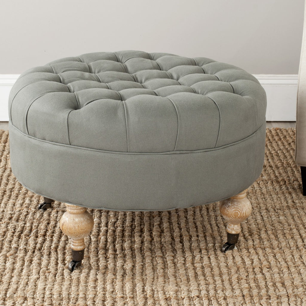 Safavieh Clara Ottoman Tufted Round Sea Mist Pickled Oak Wood Oil Based Birch CA Foam Poly Fiber Linen MCR4601B 683726748595