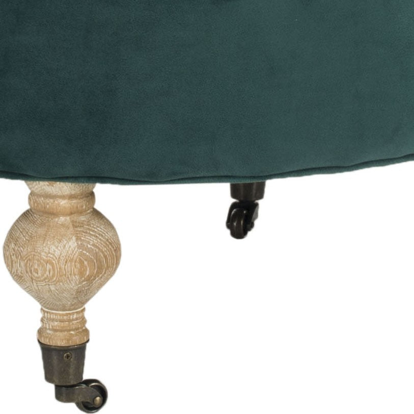 Safavieh Clara Ottoman Tufted Round Marine Pickled Oak Wood Oil Based Birch CA Foam Poly Fiber Cotton MCR4601C 683726748601