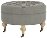 Safavieh Clara Ottoman Tufted Round Granite Pickled Oak Wood Oil Based Birch CA Foam Poly Fiber Linen MCR4601D 683726751526