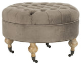Safavieh Clara Ottoman Tufted Round Mushroom Taupe Pickled Oak Wood Oil Based Birch CA Foam Poly Fiber Cotton MCR4601E 683726751533