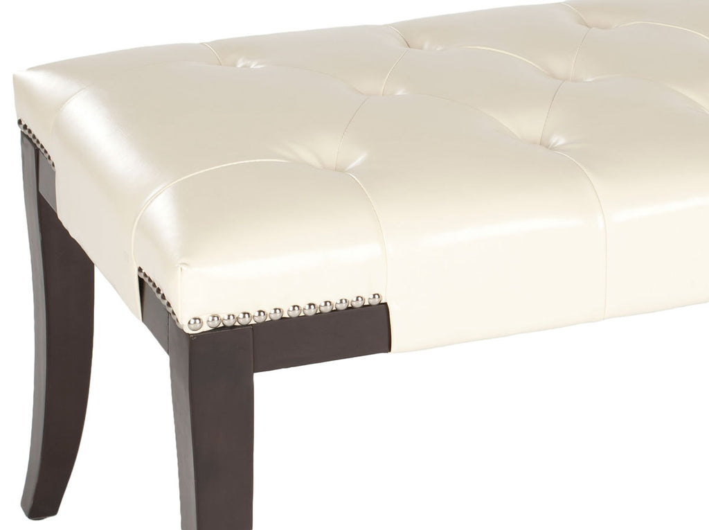 Safavieh Gibbons Bench Silver Nail Heads Cream Espresso Wood Water Based Paint Birch CA Foam Poly FiberSteelBicast Leather MCR4614B 683726522881