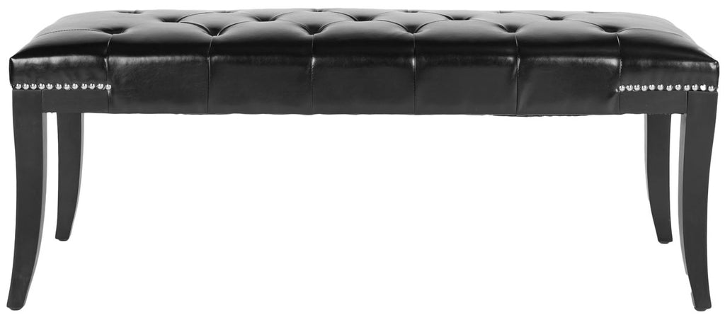 Safavieh Gibbons Bench Silver Nail Heads Black Espresso Wood Water Based Paint Birch CA Foam Poly FiberSteelBicast Leather MCR4614C 683726522898