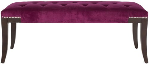 Safavieh Gibbons Bench Silver Nail Heads Plum Espresso Wood Water Based Paint Birch CA Foam Poly Fiber Stainless Steel Cotton MCR4614E 683726522935