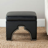 Safavieh Grant Ottoman Silver Nail Heads Black Plywood CA Foam Poly Fiber Stainless Steel Bicast Leather MCR4636A 683726593683