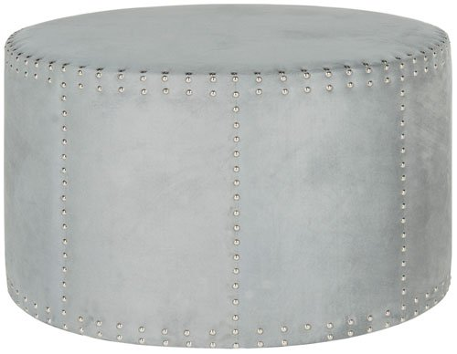 Safavieh Jody Ottoman Cocktail Nail Heads Grey Plywood CA Foam Poly Fiber Stainless Steel Polyester MCR4640F 683726863922