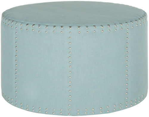 Safavieh Jody Ottoman Cocktail Nail Heads Sky Blue Plywood CA Foam Poly Fiber Stainless Steel Linen Polyester MCR4640G 683726863939