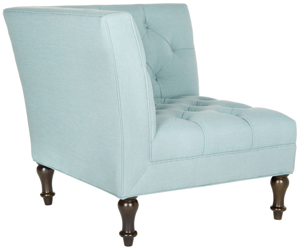 Safavieh Jack Corner Chair Tufted Sky Blue Espresso Wood Water Based Paint Birch CA Foam Poly Fiber Linen Polyester MCR4643B 683726485094