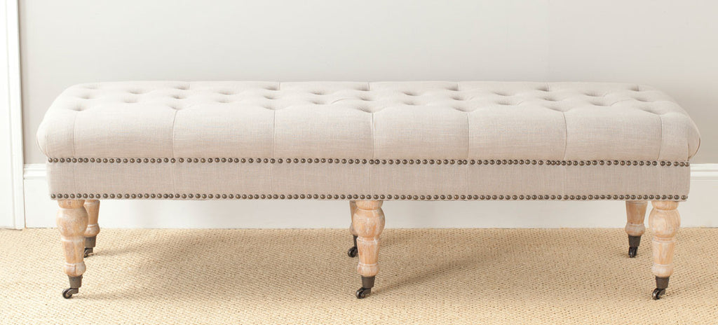Safavieh Barney Bench Tufted Nail Heads True Taupe Pickled Oak Wood Oil Based CA Foam Poly Fiber Stainless Steel Linen Polyester MCR4649C 683726368038