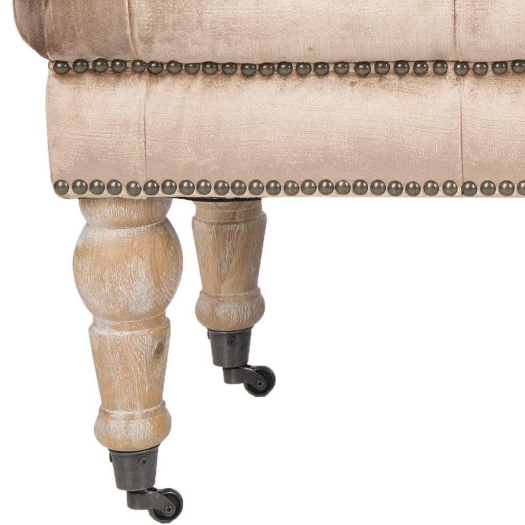 Safavieh Barney Bench Tufted Nail Heads Mink Brown Pickled Oak Wood Oil Based CA Foam Poly Fiber Stainless Steel Cotton Viscose MCR4649E 683726368052
