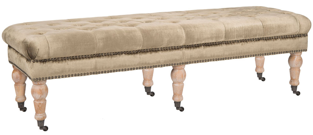 Safavieh Barney Bench Tufted Nail Heads Antique Sage Pickled Oak Wood Oil Based CA Foam Poly FiberSteelCotton Viscose MCR4649F 683726368076