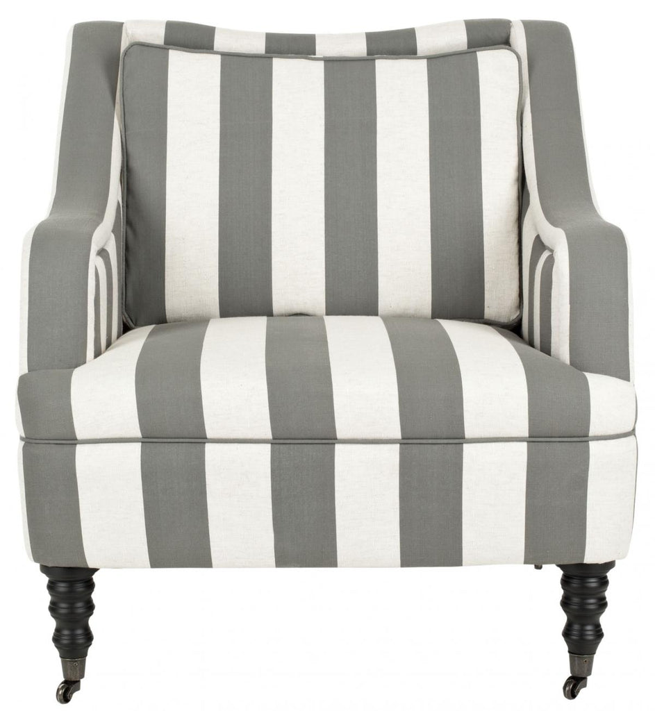 Safavieh Homer Arm Chair Greyish Blue White Black Wood Water Based Paint Birch CA Foam Poly Fiber Polyester Linen MCR4652A 683726368601