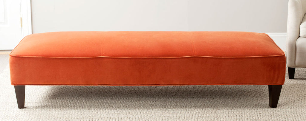 Safavieh Harlow Bench Lounging Pumpkin Orange Espresso Wood Water Based Paint Birch CA Foam Poly Fiber Cotton MCR4669A 683726751786