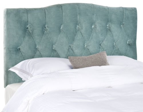 Safavieh Axel Headboard Queen Tufted Wedgwood Blue Metal with Buttons Plywood Cotton Foam Iron MCR4682A 683726207696