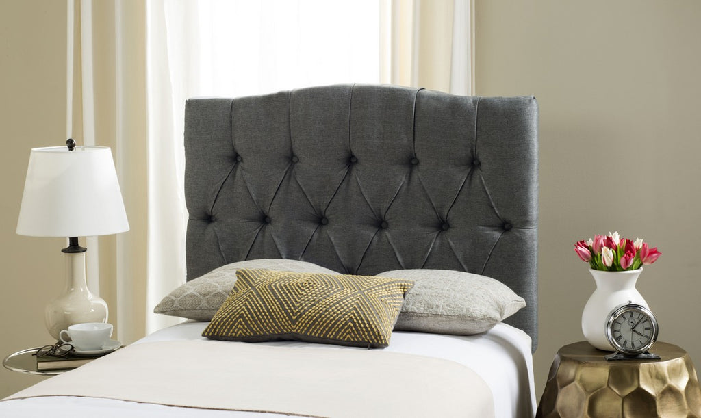 Safavieh Axel Headboard Queen Tufted Grey Metal with Buttons Plywood Linen Foam Iron MCR4682E-Q 889048146631