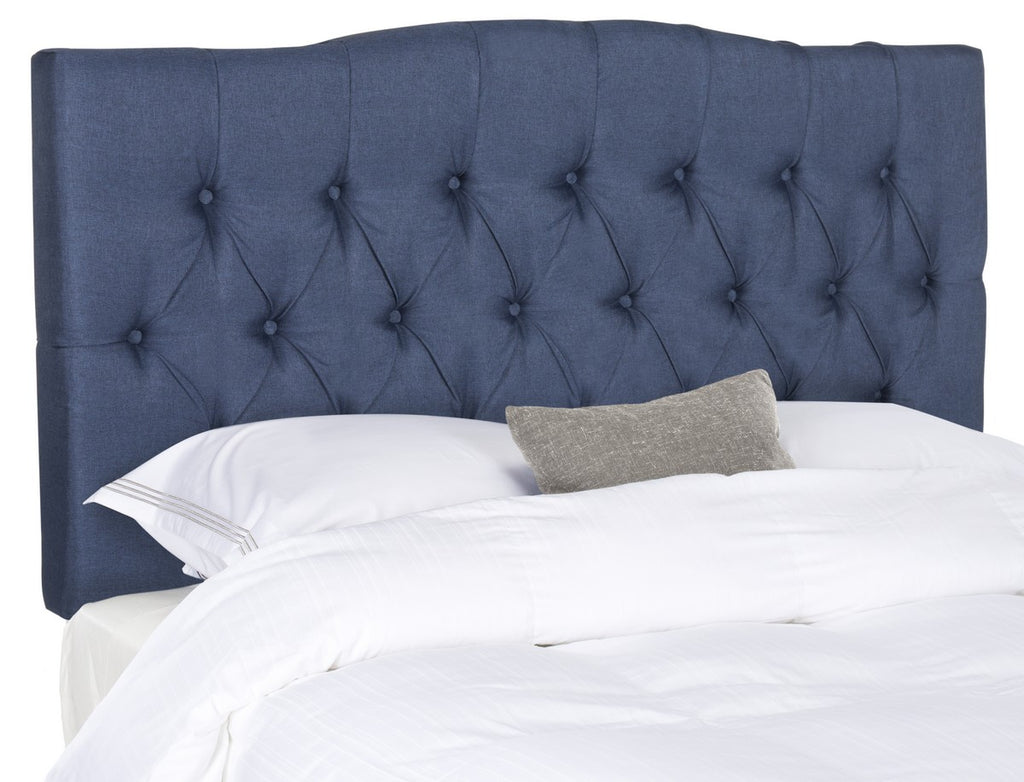 Safavieh Axel Headboard Queen Tufted Navy Metal with Buttons Plywood Linen Foam Iron MCR4682F-Q 889048146648