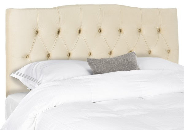 Safavieh Axel Headboard Queen Velvet Tufted Buckwheat Metal with Buttons Plywood Foam Iron MCR4682G-Q 889048146655
