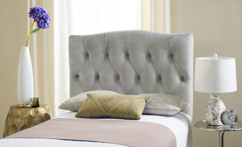 Safavieh Axel Headboard Queen Tufted Pewter Metal with Buttons Plywood Linen Foam Iron MCR4682H-Q 889048146662