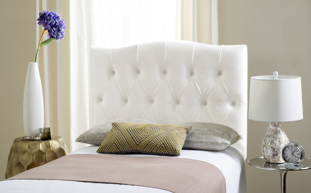 Safavieh Axel Headboard Queen Tufted White Metal with Buttons Plywood Velvet Foam Iron MCR4682J-Q 889048146679