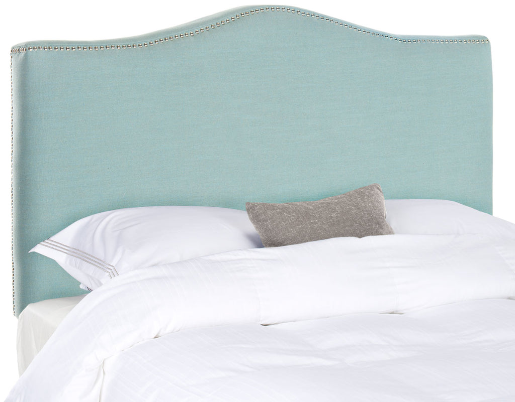 Safavieh Jeneve Headboard Full Winged Sky Blue and Silver Fabric Wood Metal Plywood Linen Polyester Foam Iron Stainless Steel MCR4683F 683726207771