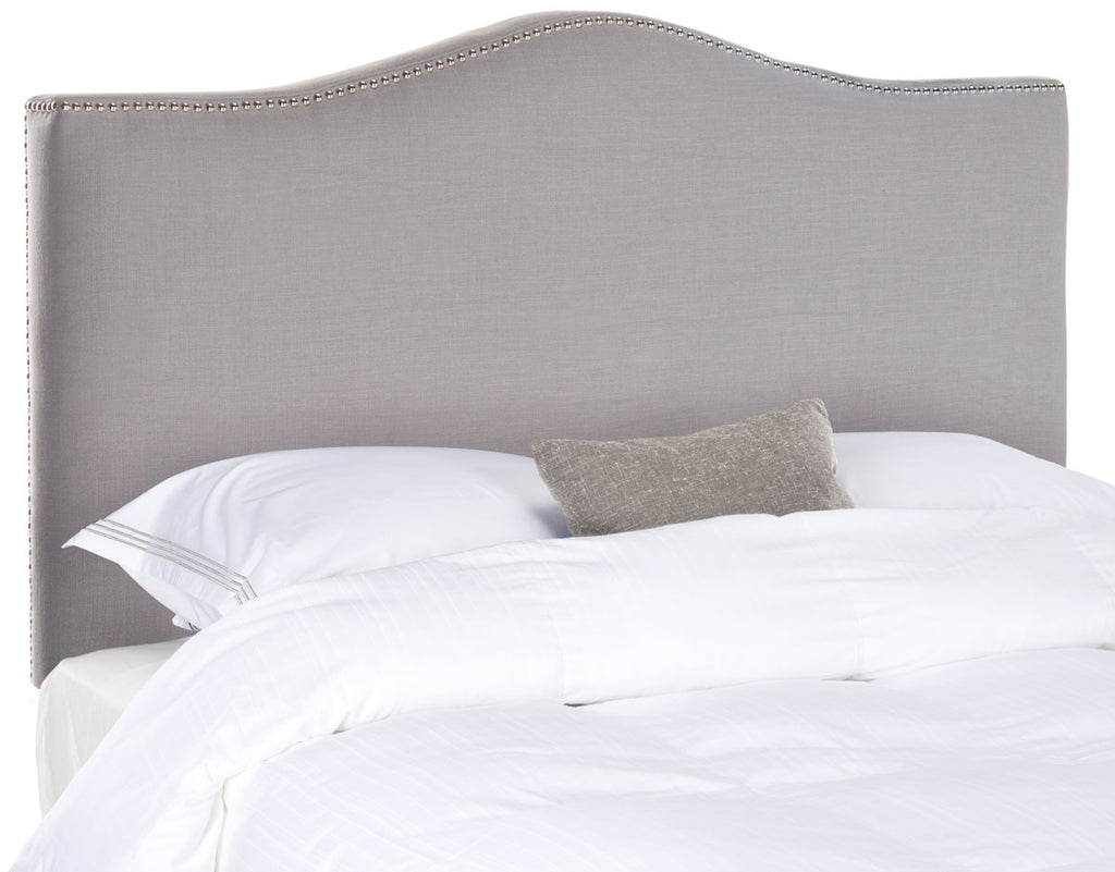 Safavieh Jeneve Headboard Queen Winged Arctic Grey and Silver Fabric Wood Metal Plywood Rayon Terelyne Cotton Foam IronSteelMCR4684B 683726207795