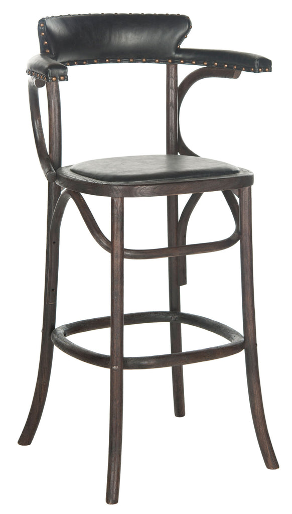 Safavieh Kenny Bar Stool Brass Nail Heads Antique Black Dark Umber Wood Oil Based Oak Stainless Steal PU MCR4687A 683726696643