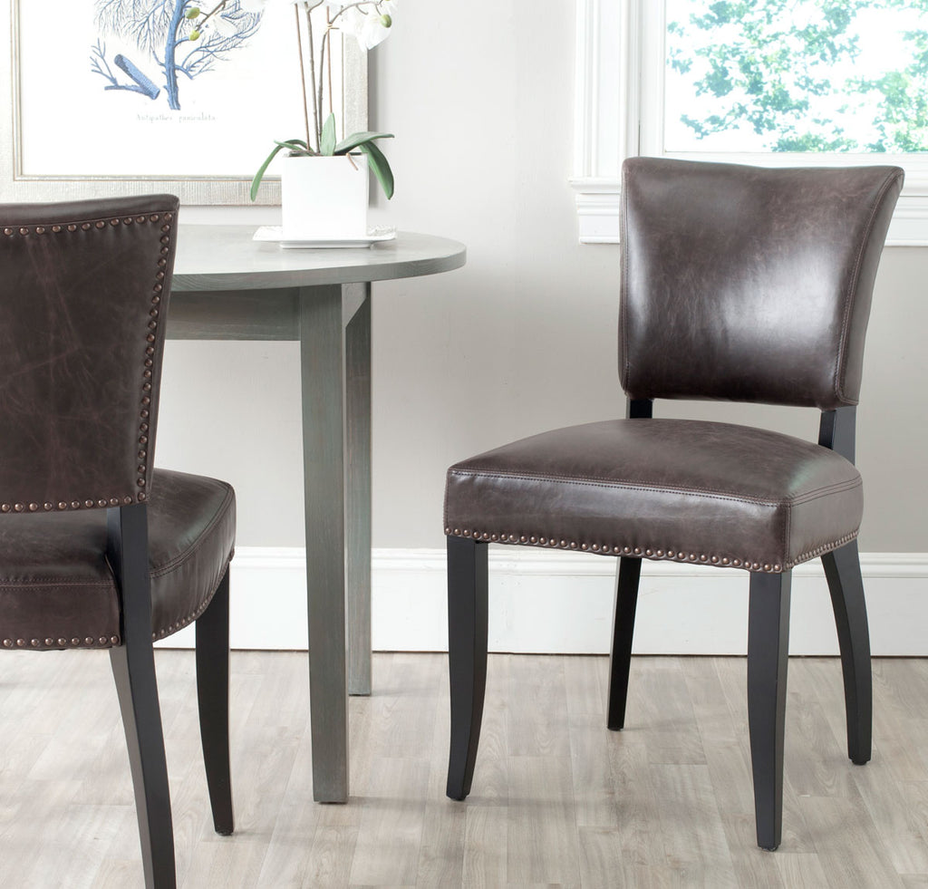 Safavieh - Set of 2 - Desa Side Chair 21''H Nail Heads Antique Brown Black Wood Water Based Paint Birch CA Foam Poly Fiber PU MCR4690A-SET2 683726697237